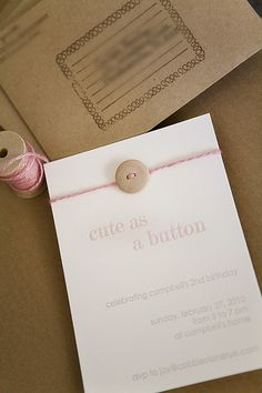 cute as a button letterpress birthday party invitation