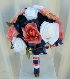 Coral Navy and White Wedding | Wedding bouquet coral navy white rose silk bridal flowers