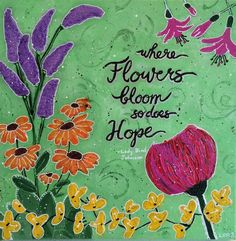 Hope Flower Print in Green by SeeSkyDesigns on Etsy
