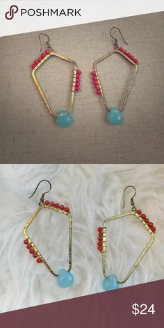 Noonday Collection Turquoise Earrings A beautiful display of Turquoise and Red stones wrapped around Gold Drop hoops by Noonday Collection! Never worn Noonday Collection Jewelry Earrings