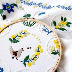 anna wustea hand embroidered bird