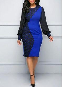 #Valentines #AdoreWe #rotita.com - #unsigned Blue Long Sleeve Patchwork Sheath Dress - AdoreWe.com