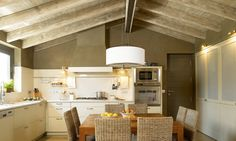 Modern kitchen , country ceiling....
