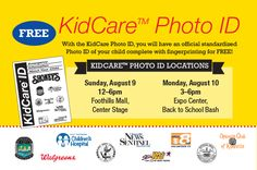 East Tennessee Children's Hospital is proud to be community partners with Shoney's, which is hosting KidCare Photo ID events to provide free identification cards and fingerprinting for children on August 9th and 10th.