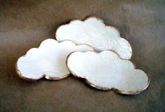 THREE Small Lace Ceramic Cloud Ring Dishes OFF WHITE by dgordon