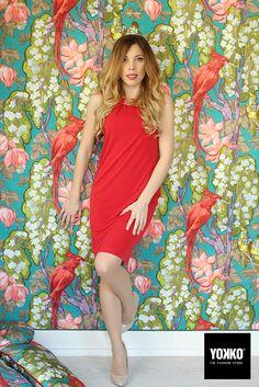 Elegant jersey dress... #springsummer15, #yokko, #redgrace