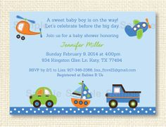 Transportation Baby Shower Invitation by LittlePrintsParties