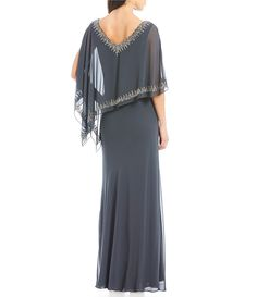 1663f9326ca Jkara Beaded V-Neck Popover Chiffon Gown