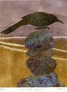 Handmade Greeting Card with Dark Bird on a Cairn by RobertaWa, $5.00