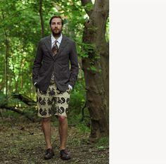 Engineered Garments Fig. 3: Landsdown Jacket in Dk. Grey Glen Plaid, Western Shirt in White Paisley Jacquard, Ghurka Shorts in Natural/Black Peacock Print, Neck...