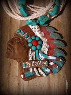 Indian Chief Western Clay Necklace by GrittynPretty on Etsy, $44.00