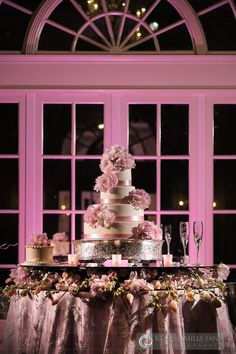 Luxe wedding cake table treatment