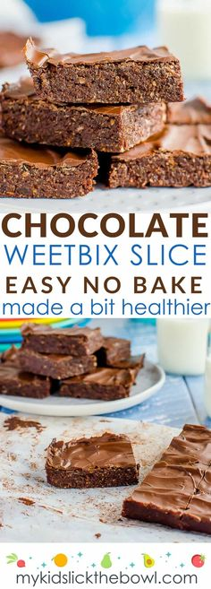 No bake chocolate Weetbix slice, easy kid friendly recipe made with Weetabix, or wheat biscuit breakfast cereal. Healthy recipe No-bake chocolate Weetbix slice, easy kid-friendly recipe made with Weetabix, or wheat biscuit breakfast cereal. Gourmet Recipes, Sweet Recipes, Dessert Recipes, Cake Recipes, Healthy Recipes, Appetizer Recipes, Dishes Recipes, Dairy Free Slice Recipes, Cooking Recipes