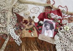 Vintage Mixed, Multi Media Kit 42 ...Cowgirl Wannabe 3 ...for fabric, textile journals, books, collage, crazy quilts, altered art, etc