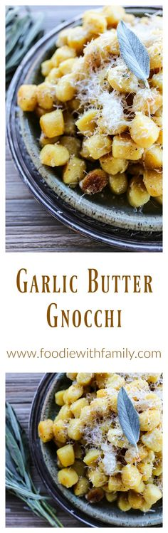 Amazingly easy and comforting Garlic Butter Gnocchi with sage and Parmesan cheese.