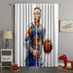 3D Printed Stephen Curry Style Custom Living Room Curtains – Westbedding