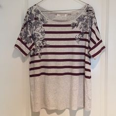 Anthropologie Boxy Burgundy Stripe Shirt Cute boxy shirt from Anthropologie. Light gray with burgundy stripes and gay flowers. Size small. Soft, stretchy material. Anthropologie Tops Tees - Short Sleeve