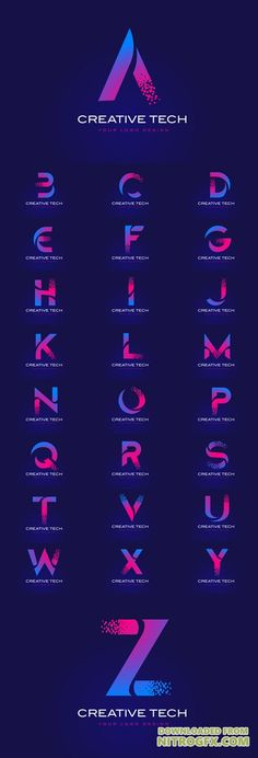 Vector Initial Letter Logos Design with Digital Pixels in Blue and Purple