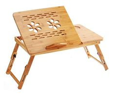 Tosnail Bamboo Adjustable Laptop Desk/Table Breakfast Serving Bed Tray with Drawer, Cooling Fan & Foldable Legs