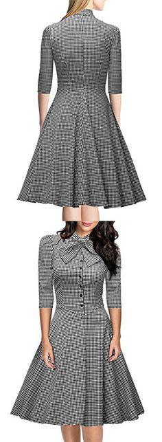 Miusol Women's Official Bow Neck Plaid Slim Half Sleeve Vintage Dress,Gray,Medium