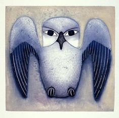 Silver Owl, by Kenojuak Ashevak (Inuit artist), Cape Dorset, 1999 -- Etching and aquatint