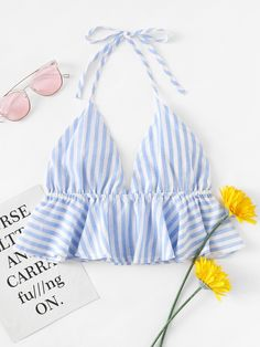¡Consigue este tipo de top corto de SheIn ahora! Haz clic para ver los detalles. Envíos gratis a toda España. Striped Frill Hem Open Back Crop Halter Top: Blue Polyester Sexy Vacation Striped Ruffle Halter Top Fabric has no stretch Summer Tank Tops & Camis. (top corto, crop tops, crop top, croptops, croptop, top crop, tops crops, cropped, top bailarina, corto, camisola corta, crop, cropped t-shirt, kurzes top, top corto, top court, top corto, cortos)