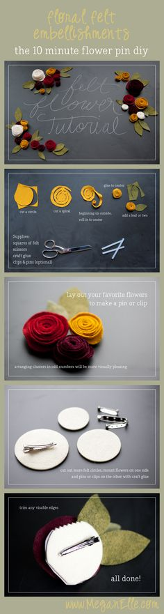 felt flowers tutorial blog