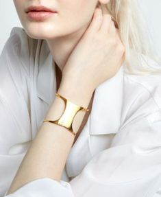 Sarah Chloe Polished Concave Cuff Bracelet in Gold-Plated Sterling Silver - Gold Silver Jewellery Indian, Silver Jewelry, Silver Ring, Silver Earrings, 925 Silver, Onyx Necklace, Garnet Earrings, Silver Pendants, Gothic Jewelry