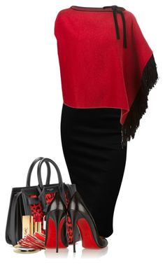 D & G  Fringed Cape by flowerchild805 on Polyvore featuring polyvore fashion style Dolce&Gabbana Christian Louboutin Yves Saint Laurent clothing