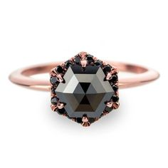 Black Diamond Rose Gold Engagement Ring, Hexagon Halo