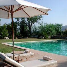 Grass bordering pool