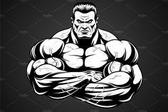 Vector illustration of a strong pitbull with big biceps, bodybuilder Pitbull, Bruce Lee Poster, Bodybuilding Pictures, Eagle Drawing, Big Biceps, Fantasy Art Men, Dog Logo, Body Drawing, Social Media Graphics