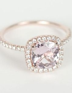 20 STUNNING ENGAGEMENT RINGS THAT WILL BLOW YOU AWAY: #8. Certified Peach Pink Cushion Sapphire Diamond Halo Rose Gold Engagement Ring