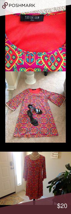 Dress Peach Love Cream Midi Dress. Knitted lace on the edge of the sleeves. Full length cami underneath. Vibrant colors. peach love cream  Dresses Midi