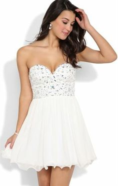 Deb Shops Strapless Stone Trim Corset Dress with Curly End Skirt $74.90 bachelorette dress