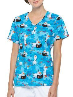 Life LADIES SCRUB TOP Small Long Sleeve Snap Front Dogs Paw Prints Nurse Uniform