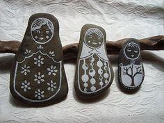 Matroyshka dolls. Painted on stones.