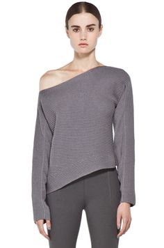 ALEXANDER WANG  Patchwork Stitch Asymmetrical Crop Top in Concrete - could wear over a tank if you don't want a naked shoulder or want to wear a bra with straps