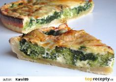 Quiche se špenátem a brokolicí recept - TopRecepty. Quiche, Feta, Smoked Salmon, Spanakopita, Easter Recipes, Avocado Toast, Vegetarian, Favorite Recipes, Cooking