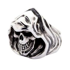 Sterling Silver Grim Reaper Skull Ring depict the famous symbol of death. Silver Skull Ring, Silver Man, Hand Molding, Grim Reaper, Rings Cool, Sterling Silver Rings, Rings For Men, Jewelry, Men Rings