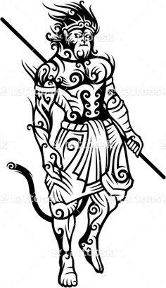 Chinese Monkey King Tattoo Line Art ❥❥❥ https://tattoosk.com/monkey-king-tattoo#123