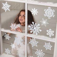 """Fensterdeko """"Weiße Schneeflocken"""", 14-tlg. bei Gingar.de - Jetzt hier kaufen"""