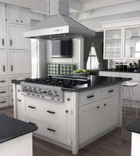 """ZLINE 36"""" Designer Series Stainless Island Range Hood, KB2i-4SSXS-36 Kitchen Island With Cooktop, Island Cooktop, Kitchen Cabinets, Kitchen Islands, Kitchen Appliances, Kitchen Hoods, Kitchen Countertops, Modern Kitchens With Islands, Small Kitchen With Island"""
