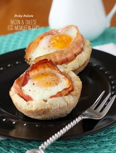 baked eggs and bacon in english muffin