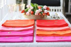 Great tutorial for sewing your own mitred-corner linen napkins