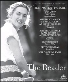 The Reader Lena Olin, Sydney Pollack, Ralph Fiennes, Best Director, Kate Winslet, Actresses, Actors, Reading, Female Actresses