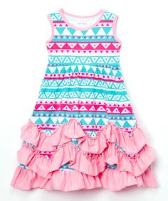 Look at this Blue & Pink Geometric Ruffle Empire-Waist Dress - Toddler & Girls on #zulily today!