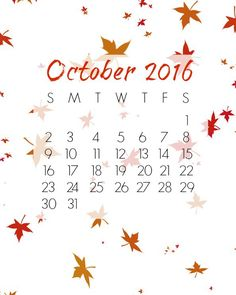 Free Printable October 2016 Calendar. This free calendar can be downloaded and printed, or you can even use it as a screen saver.