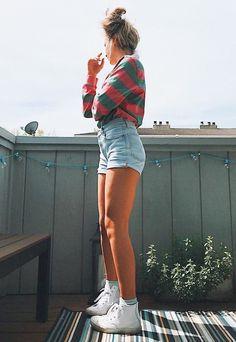 Long Sleeve Striped Collared T-Shirt, High Waisted Denim Shorts, Crew Socks, White Converse High Tops, Messy Bun