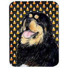 Caroline's Treasures Halloween Candy Corn Tibetan Mastiff Portrait Glass Cutting Board